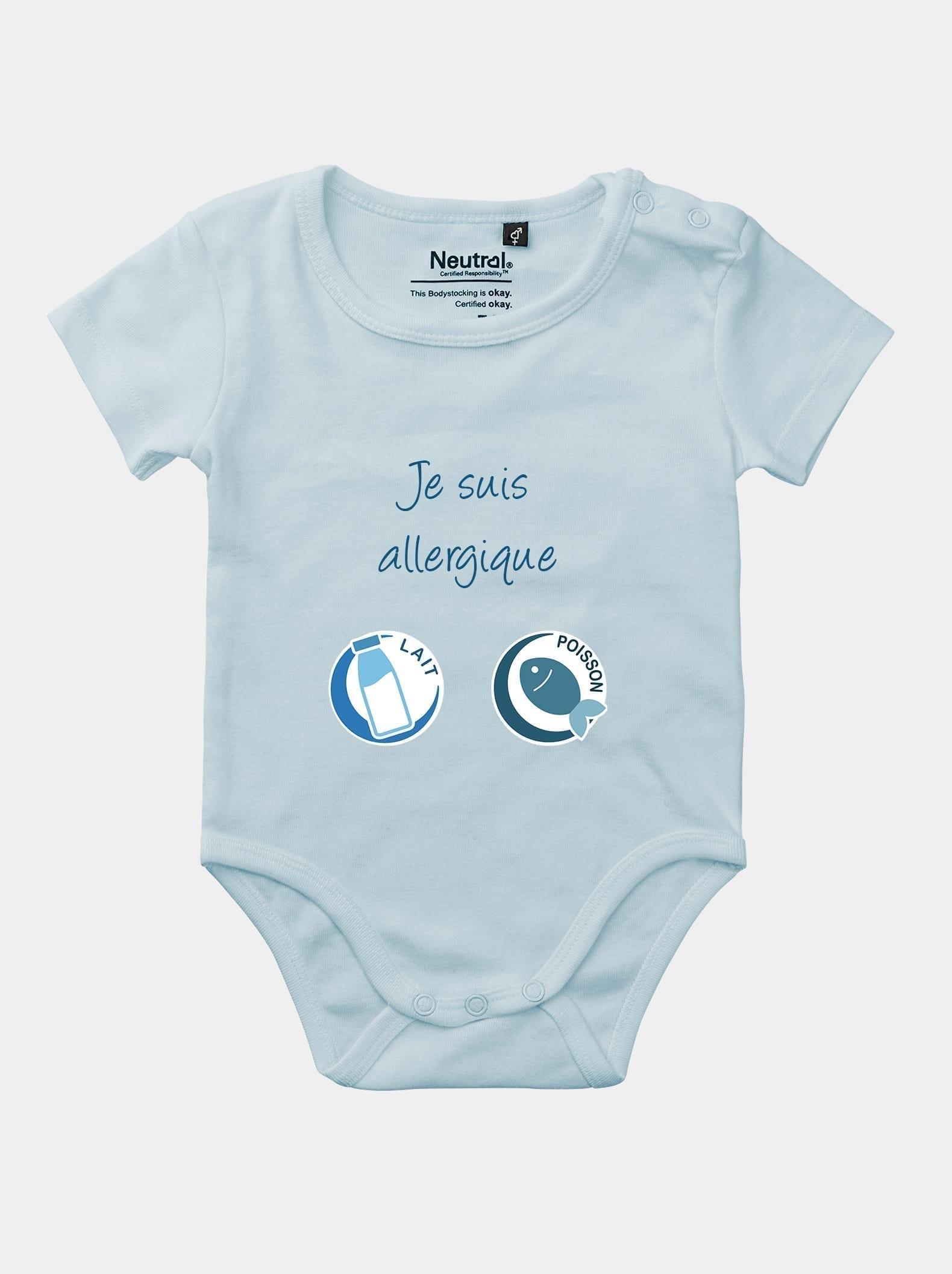 body bébé je suis allergique alrj bleu