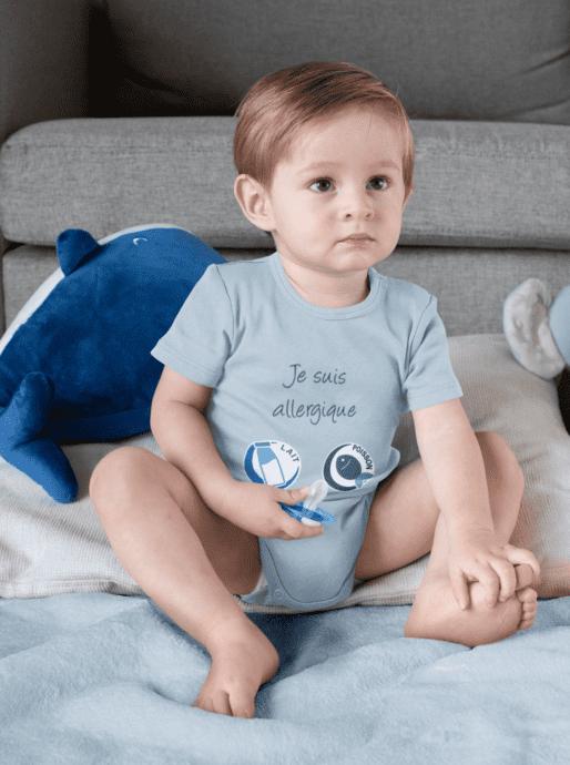 bébé garçon en body alrj je suis allergique bleu