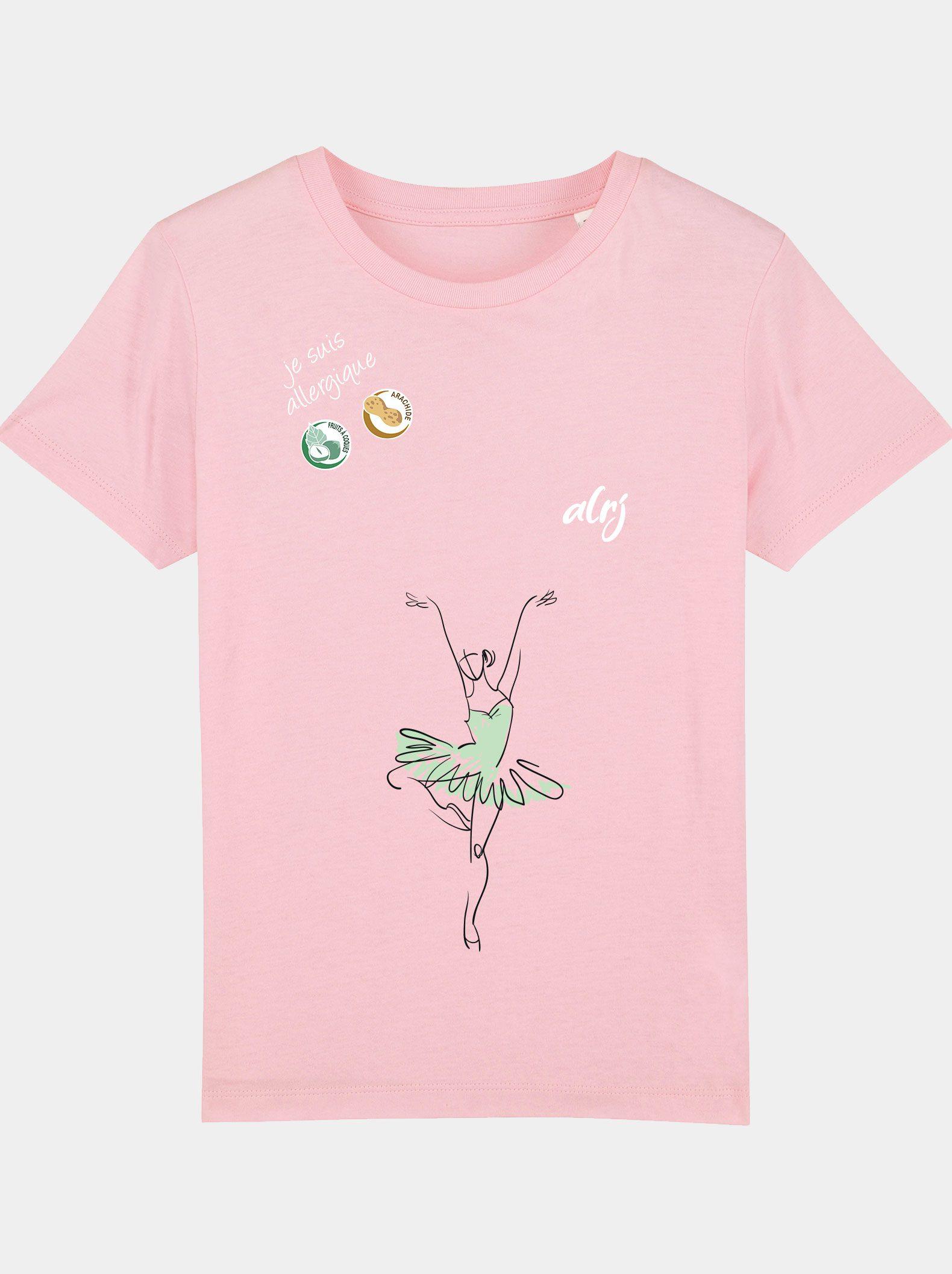 t-shirt alrj allergies alimentaires ballet rose bonbon