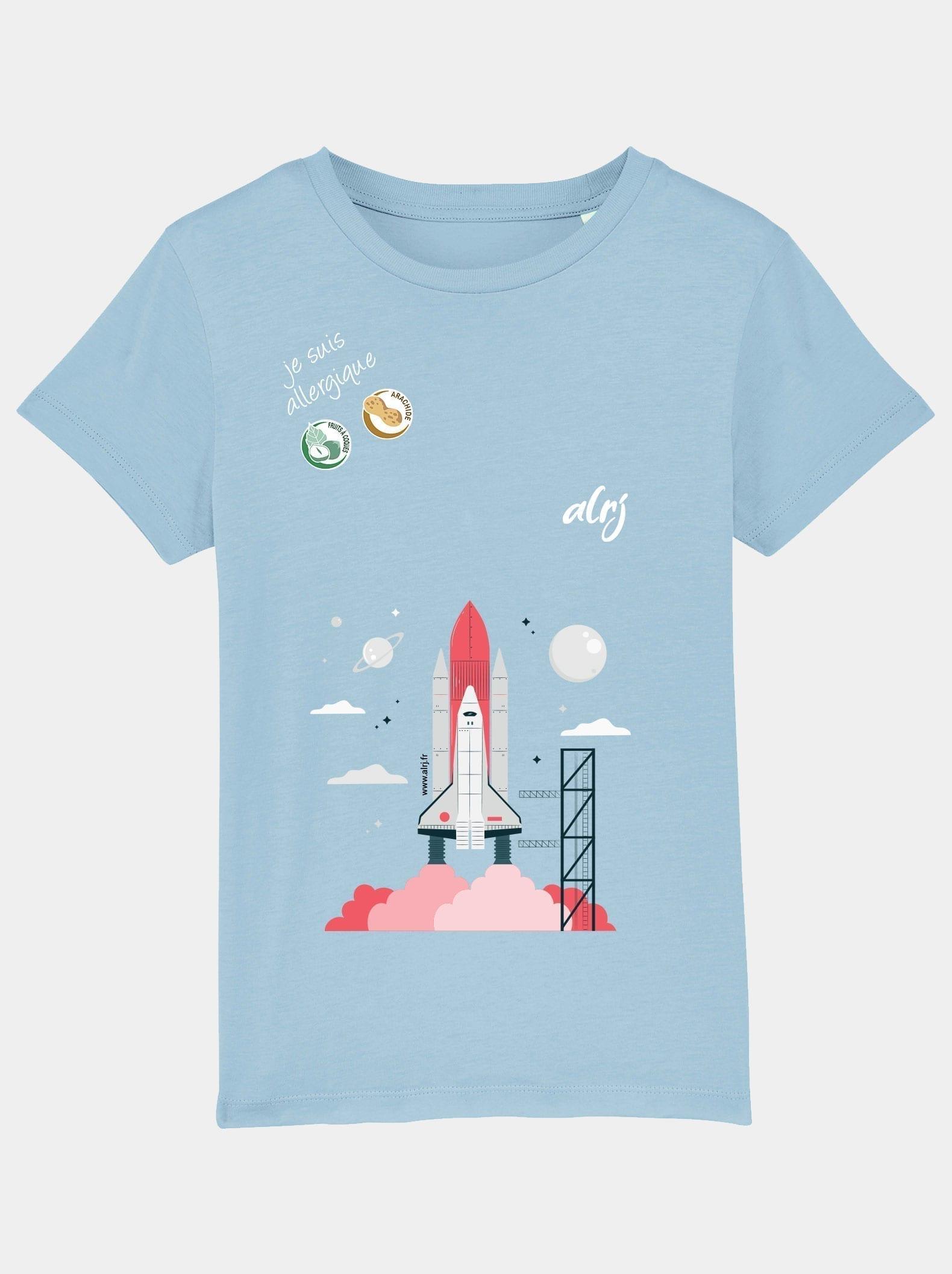 t-shirt enfant allergique alimentaire fusée bleu ciel