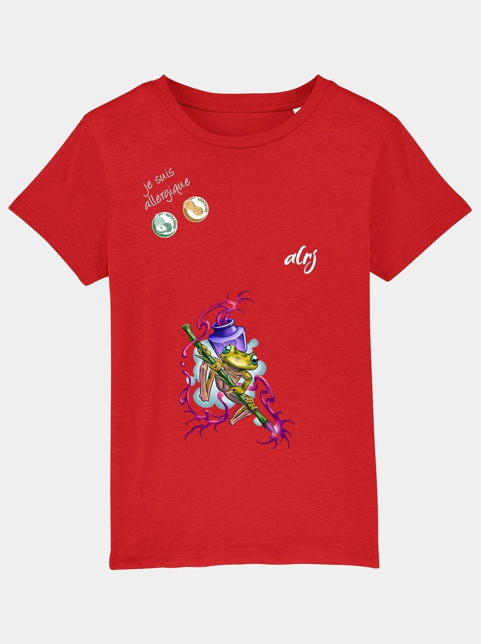 t-shirt enfant allergie alimentaire grenouille rouge