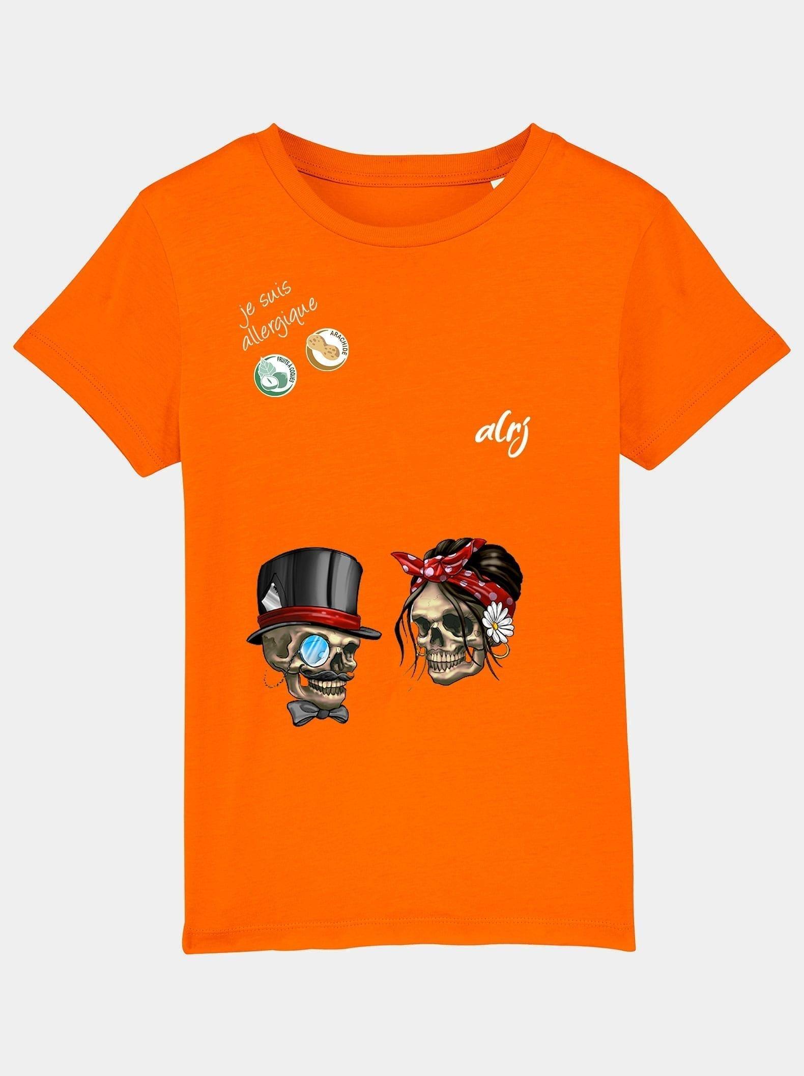 t-shirt alrj allergies alimentaires squelette orange