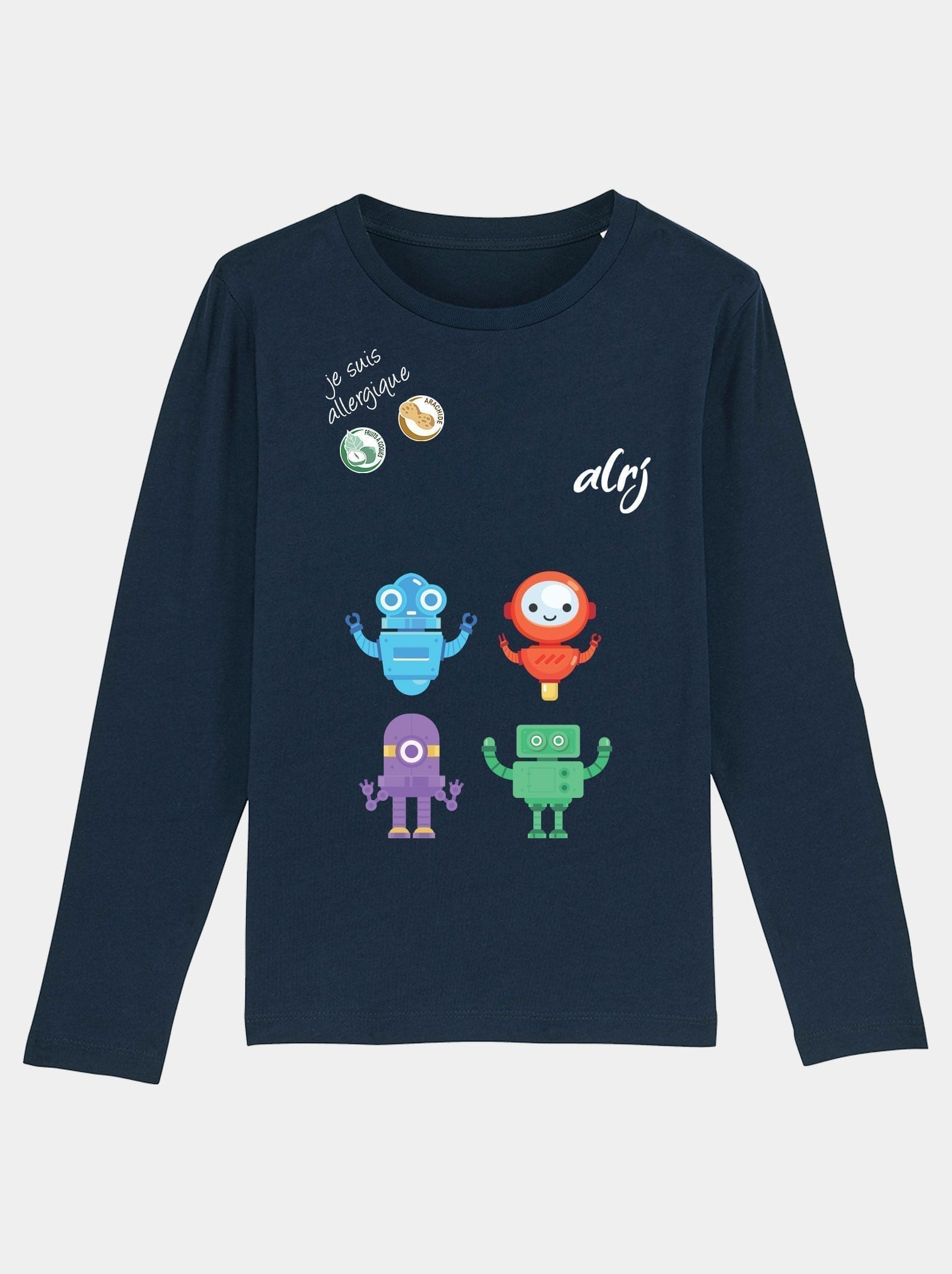 t-shirt manche longue alrj allergie alimentaire robot bleu marine