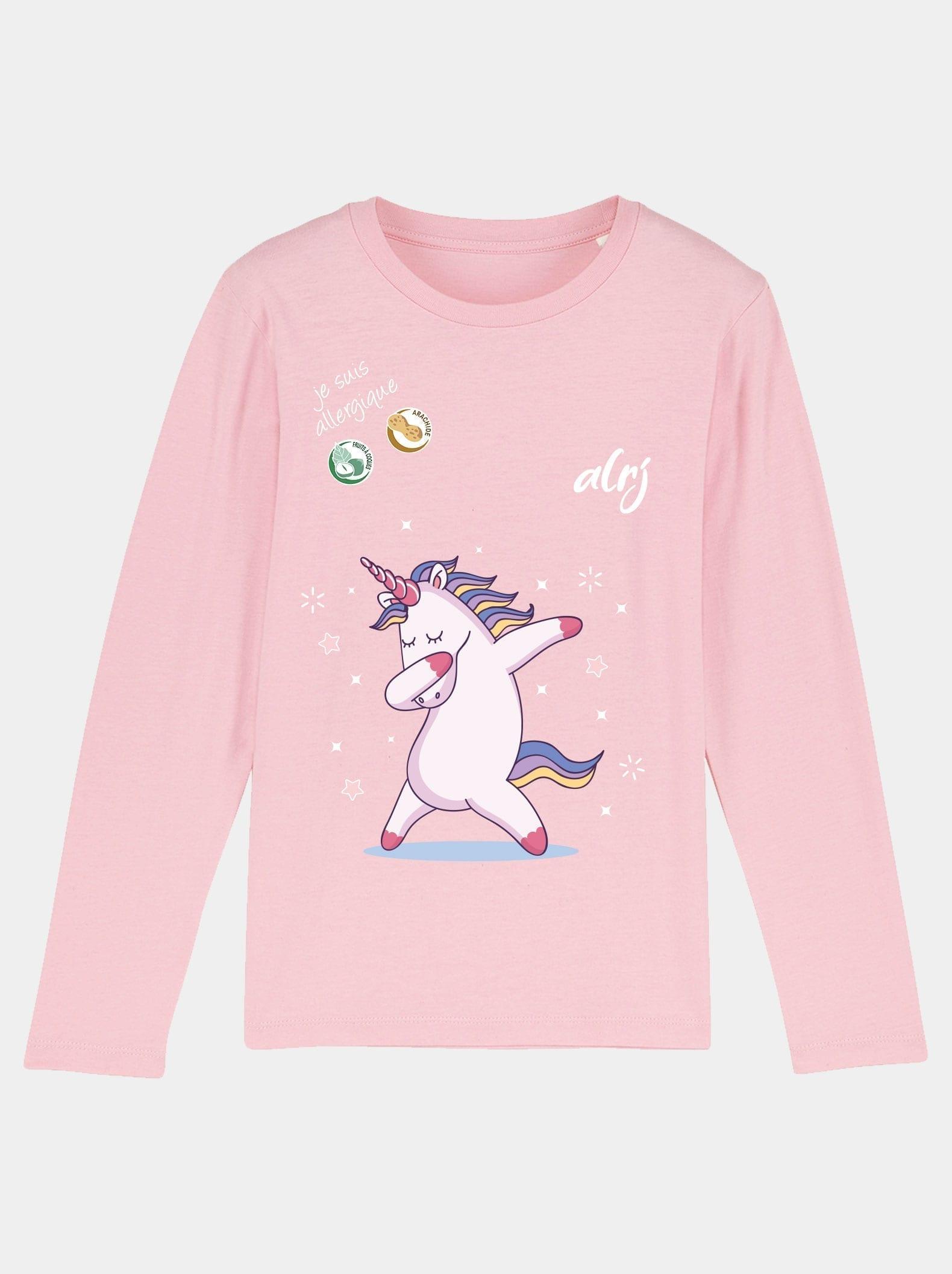 t-shirt manche longue allergie alimentaire licorne rose