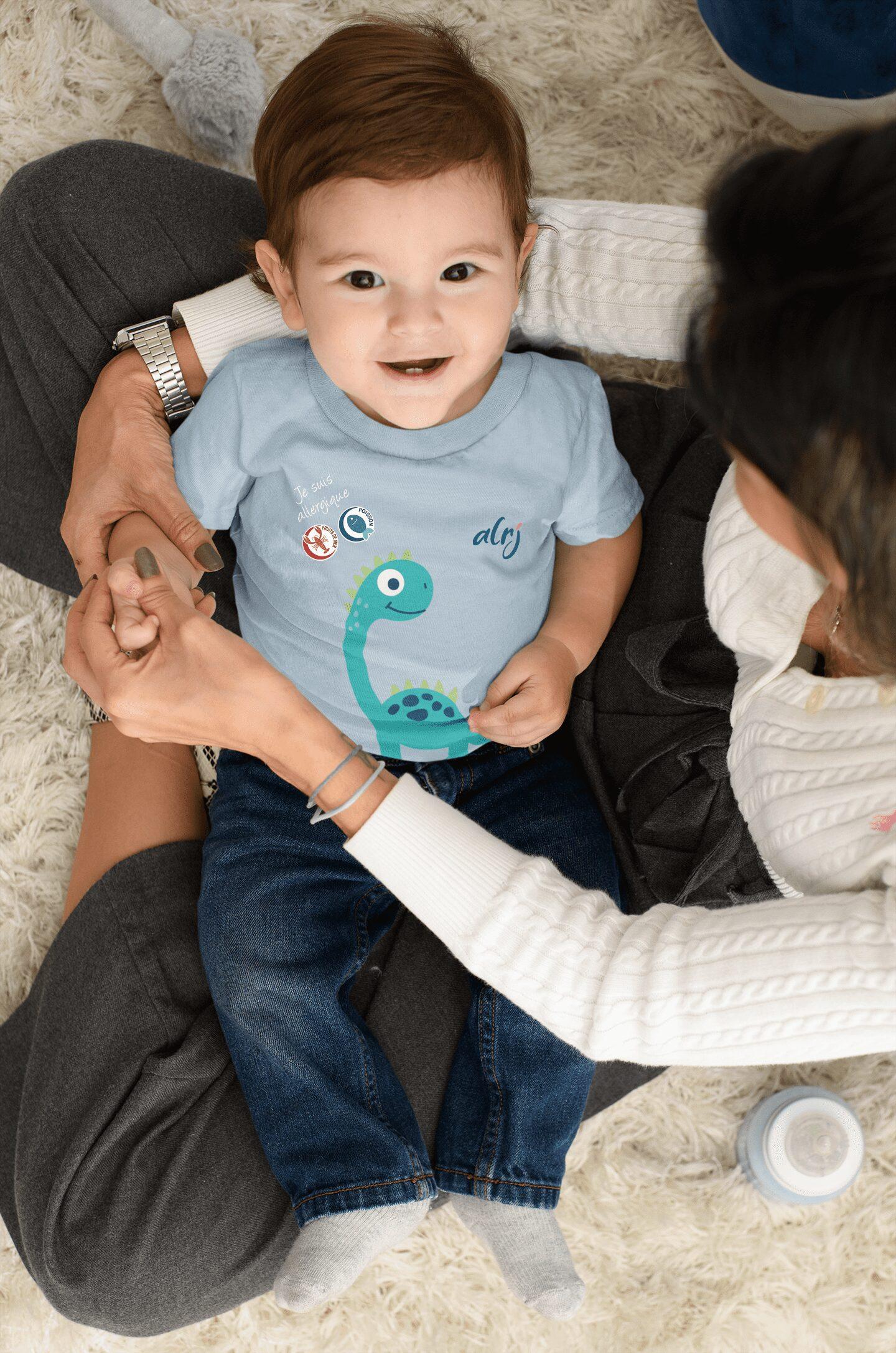 t-shirt bébé je suis allergique alimentaire diplodocus bleu