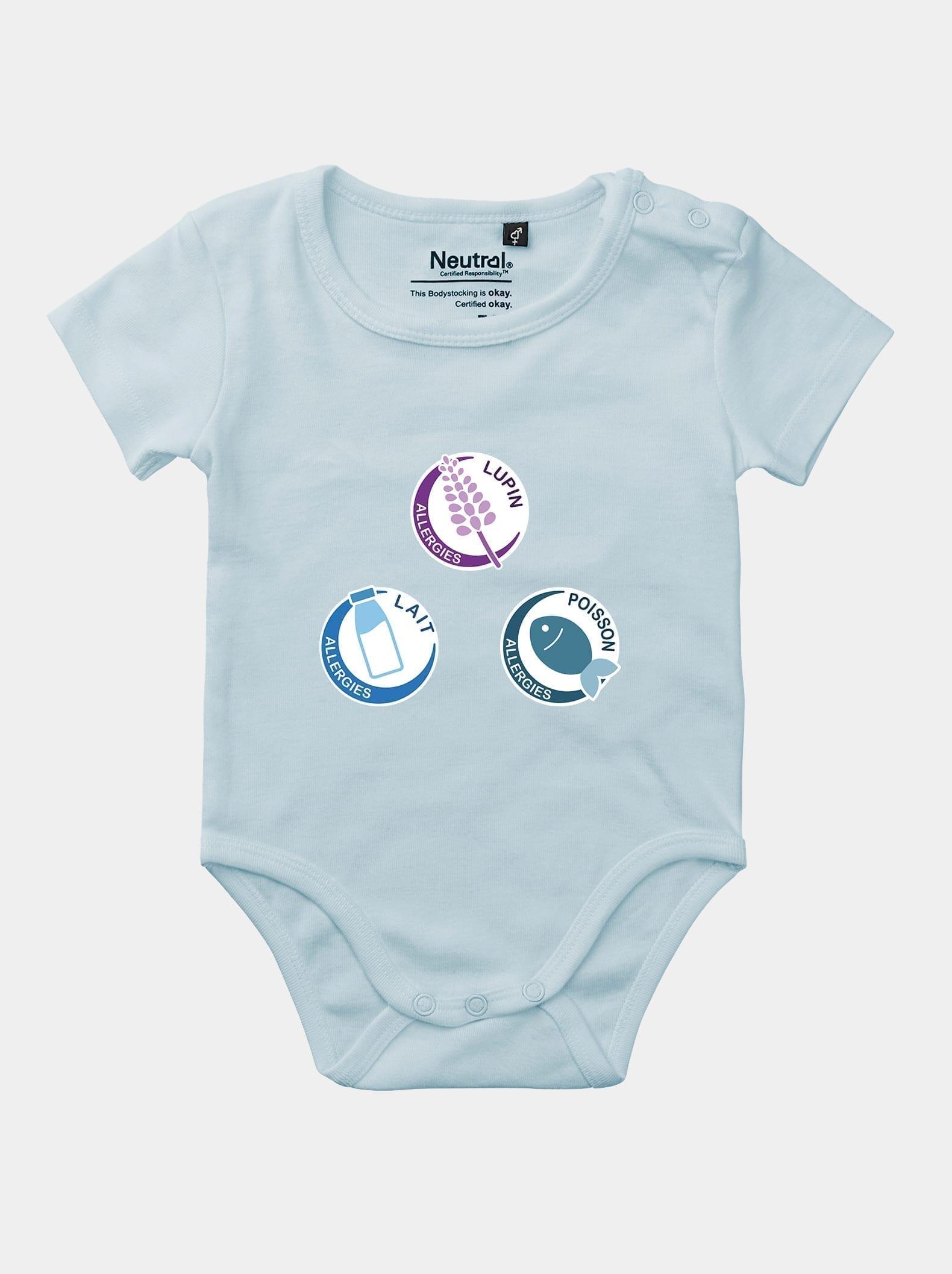 body bébé logo des allergies alimentaires bleu