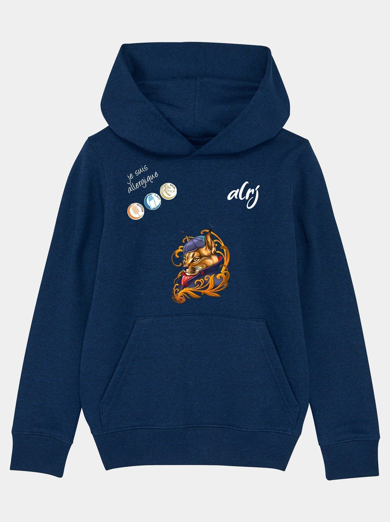 sweatshirt pour enfant allergique lynx bleu chiné