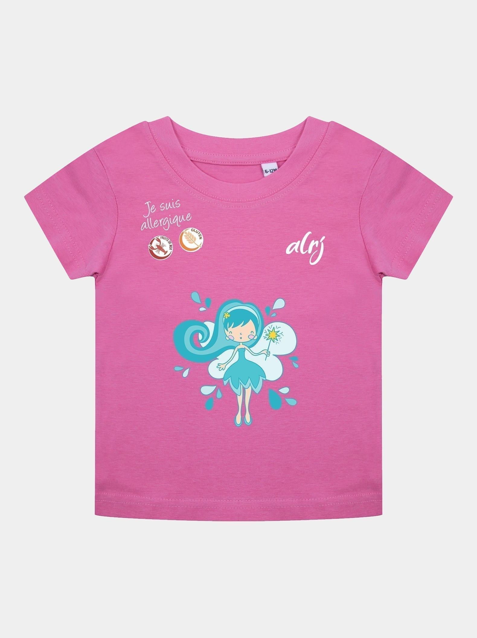 t-shirt bébé allergique fée bleue rose