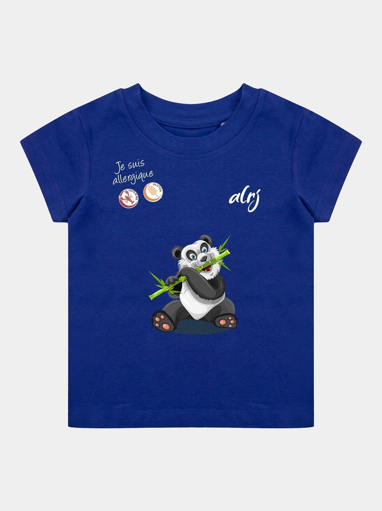 t-shirt allergie alimentaire alrj panda bleu royal