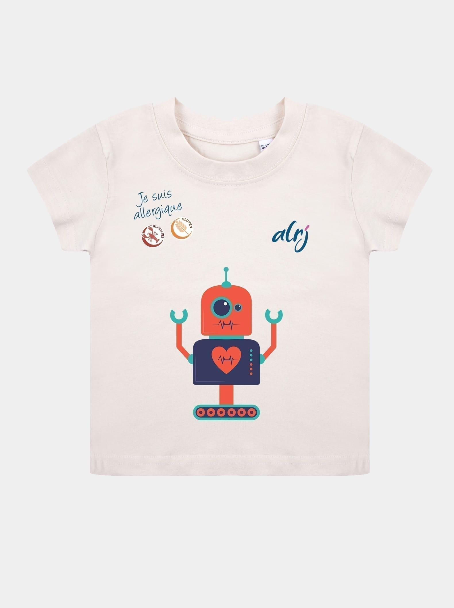t-shirt bébé allergique robot beige