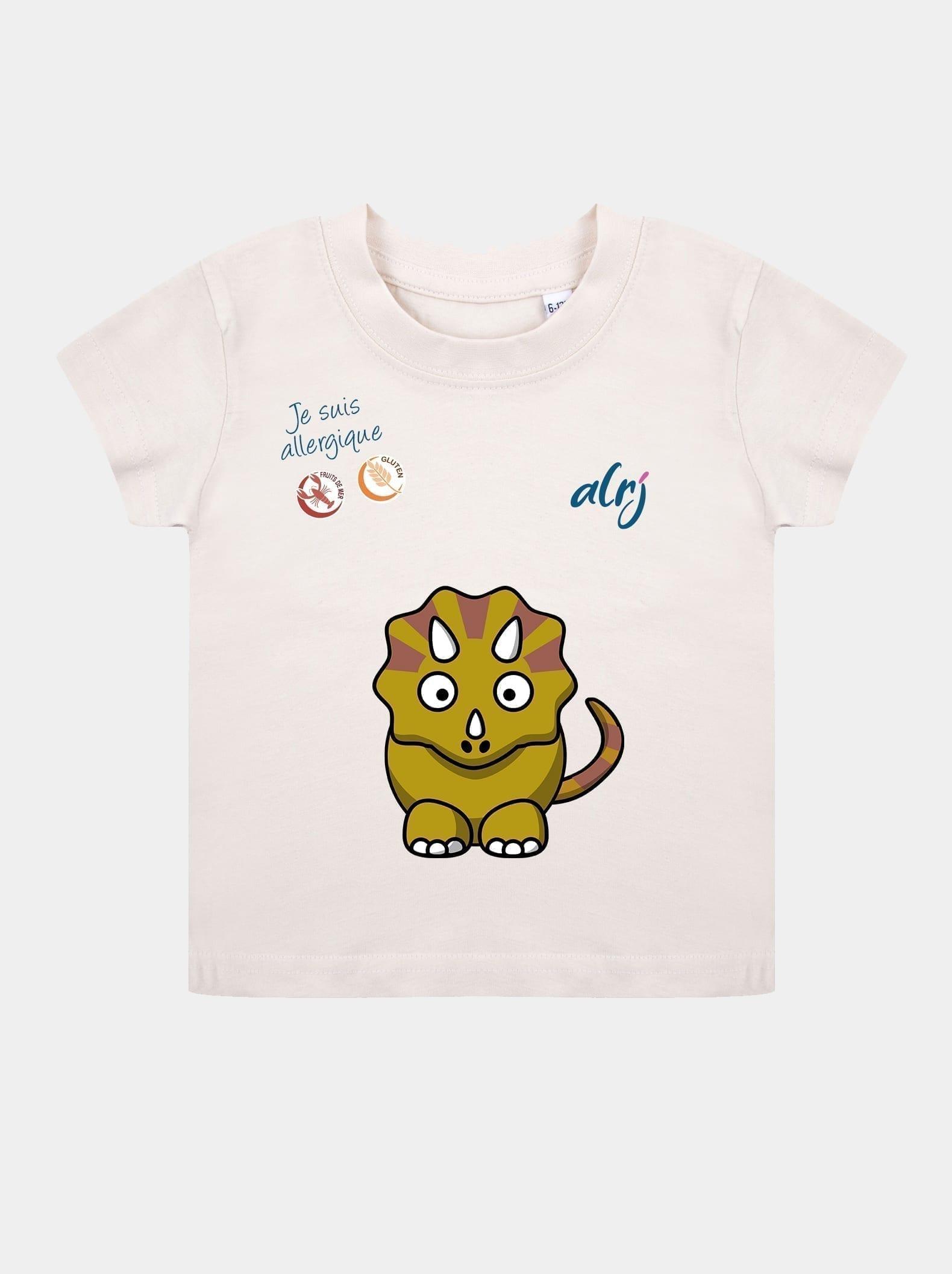 t-shirt allergie alimentaire enfant tricératops beige