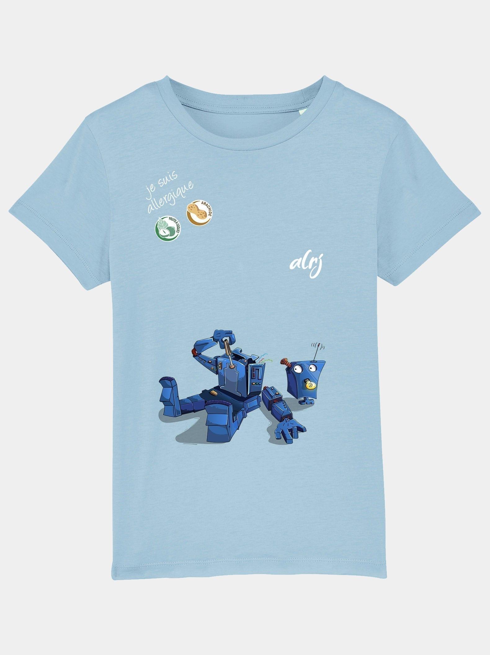 T-shirt pour enfant allergique avec un motif de robot démonté