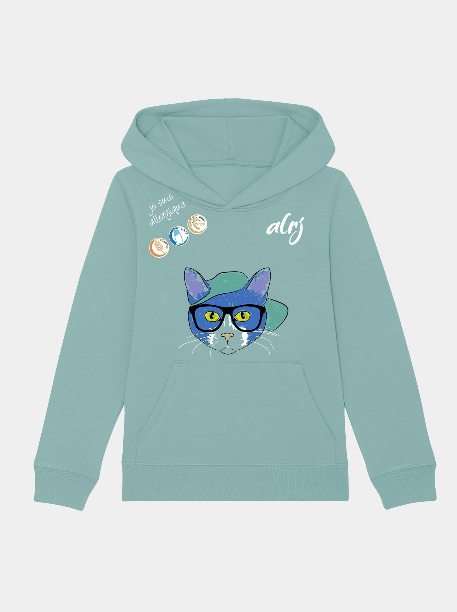 sweatshirt allergie alimentaire alrj avec motif chat couleur turquoise